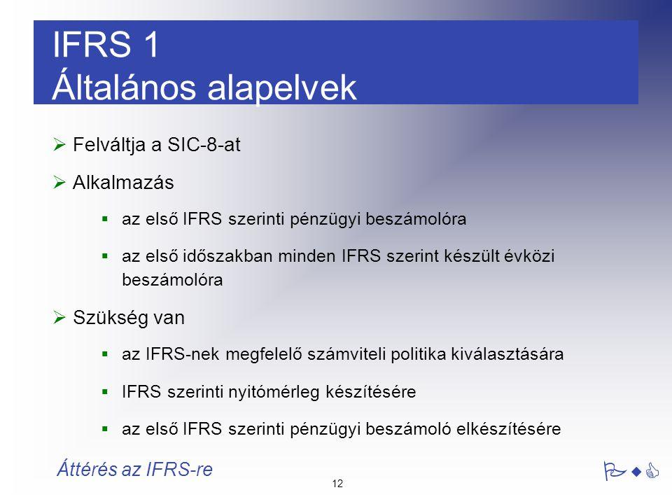 12 PwC Áttérés az IFRS-re IFRS 1 Általános alapelvek  Felváltja a SIC-8-at  Alkalmazás  az első IFRS szerinti pénzügyi beszámolóra  az első idősza