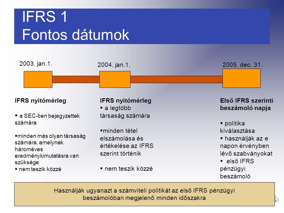13 PwC Áttérés az IFRS-re IFRS 1 Fontos dátumok 2003. jan.1. 2004. jan.1.2005. dec. 31. IFRS nyitómérleg  a SEC-ben bejegyzettek számára  minden más