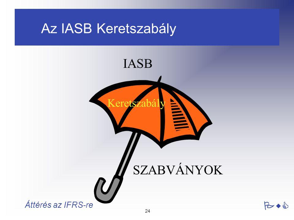 24 PwC Áttérés az IFRS-re Keretszabály SZABVÁNYOK IASB Az IASB Keretszabály PwC