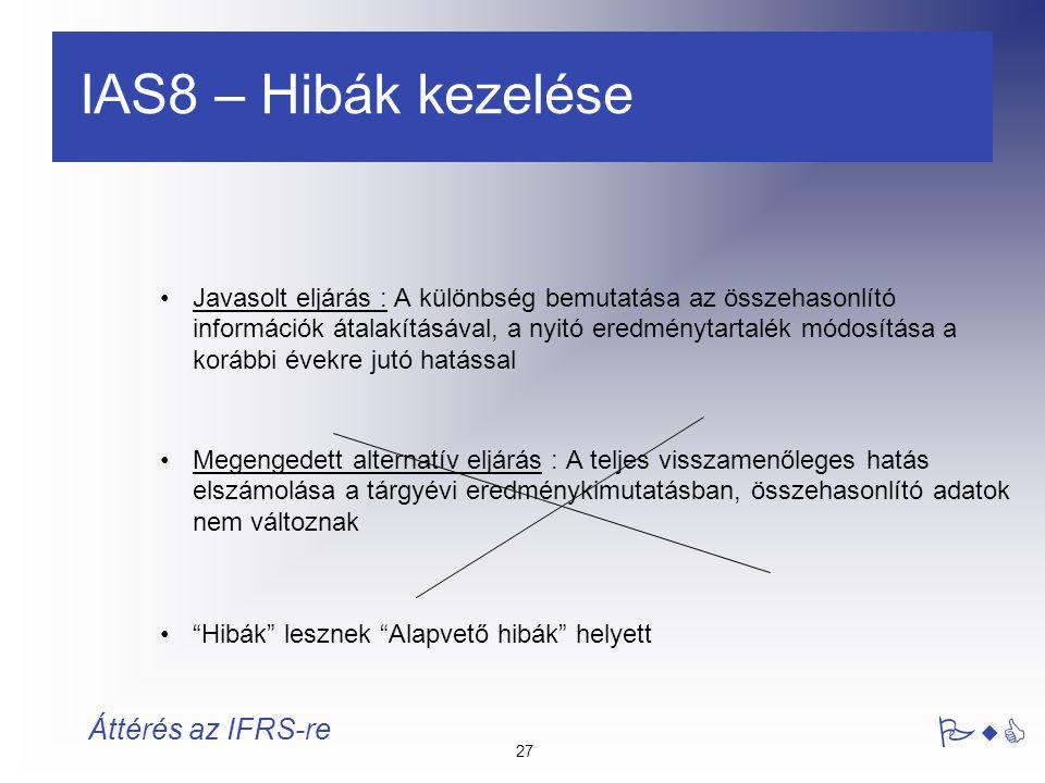 27 PwC Áttérés az IFRS-re IAS8 – Hibák kezelése Javasolt eljárás : A különbség bemutatása az összehasonlító információk átalakításával, a nyitó eredmé