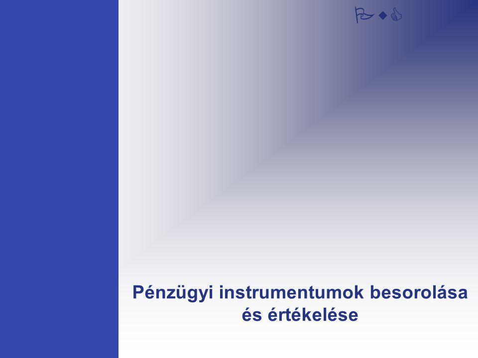 PwC Pénzügyi instrumentumok besorolása és értékelése