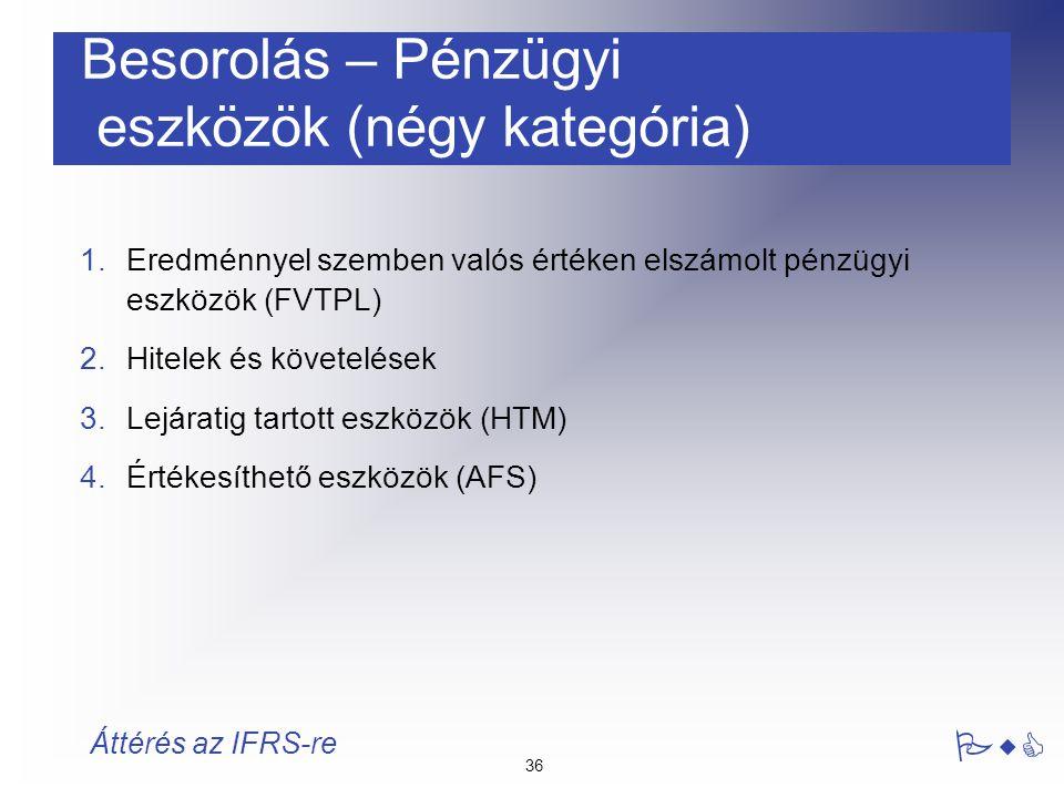 36 PwC Áttérés az IFRS-re Besorolás – Pénzügyi eszközök (négy kategória) 1.Eredménnyel szemben valós értéken elszámolt pénzügyi eszközök (FVTPL) 2.Hit
