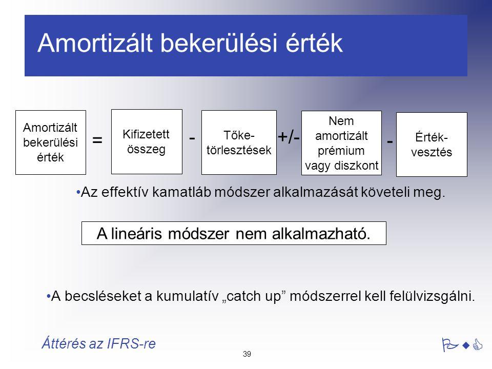 """39 PwC Áttérés az IFRS-re Amortizált bekerülési érték Az effektív kamatláb módszer alkalmazását követeli meg. A becsléseket a kumulatív """"catch up"""" mód"""