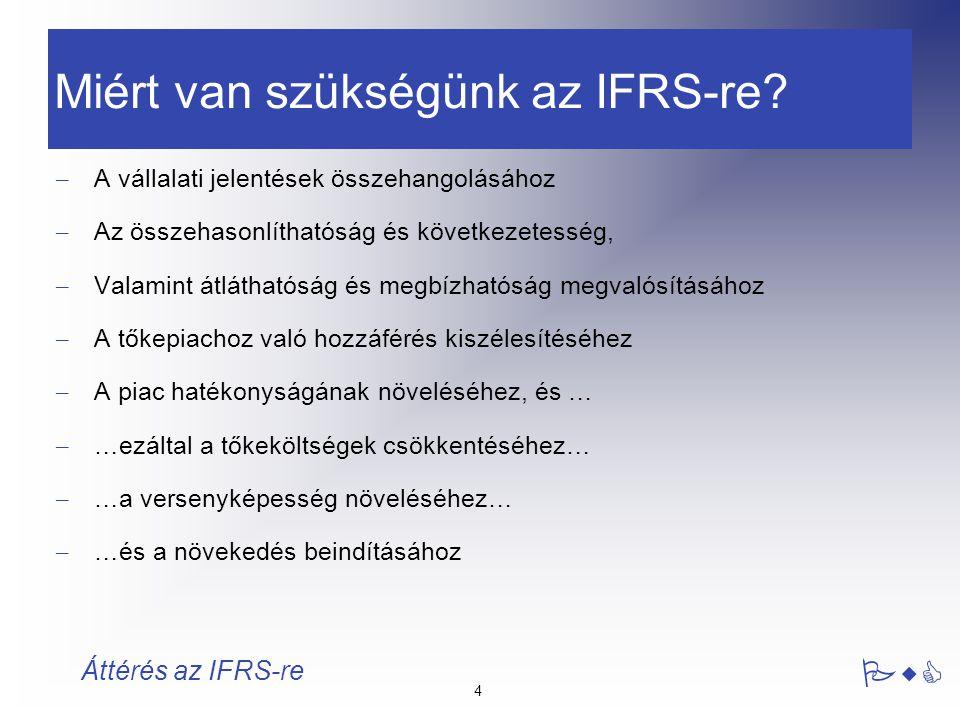 5 PwC Áttérés az IFRS-re Az IFRS nem: – változtatja meg a vállalat jövőbeli cash-flowját (habár a megközelítés változhat) – változtatja meg az eszközök és források valós értékét – változtatja meg a vállalat hozzáadott (beágyazott) értékének számítási módszertanát – változtatja meg a működést alátámasztó valós gazdasági helyzetet Az IFRS nem változtatja meg a nyereség realizálásának időzítését, de megváltoztatja a nyereség elszámolásának időzítését.