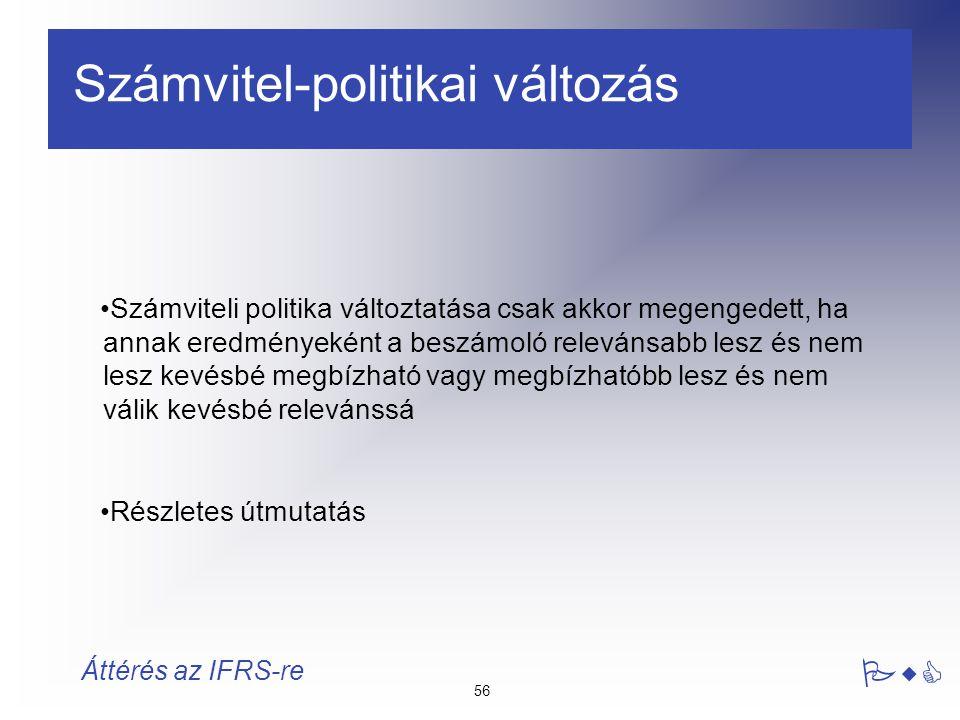 56 PwC Áttérés az IFRS-re Számvitel-politikai változás Számviteli politika változtatása csak akkor megengedett, ha annak eredményeként a beszámoló rel
