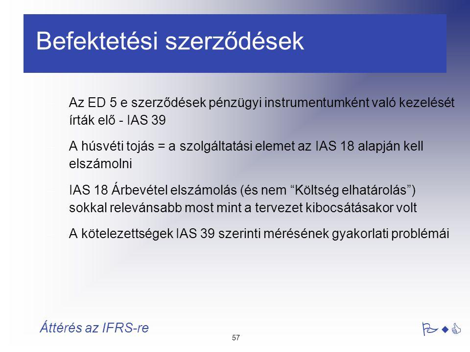 57 PwC Áttérés az IFRS-re Befektetési szerződések – Az ED 5 e szerződések pénzügyi instrumentumként való kezelését írták elő - IAS 39 – A húsvéti tojá
