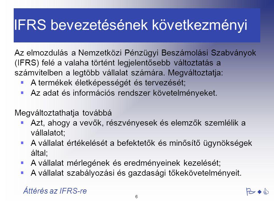 "7 PwC Áttérés az IFRS-re Bevezetés - Fogalmak IAS : ""International Accounting Standards SIC : ""Standing Interpretations Committee IAS1..41 SIC1..XX IFRS : ""International Financial Reporting Standards IFRIC : ""International Financial Reporting Standards Interpretations Committee IFRS1-… IFRIC1-… PwC"