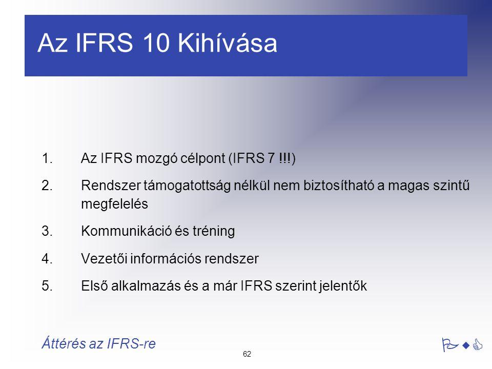62 PwC Áttérés az IFRS-re 1.Az IFRS mozgó célpont (IFRS 7 !!!) 2.Rendszer támogatottság nélkül nem biztosítható a magas szintű megfelelés 3.Kommunikác