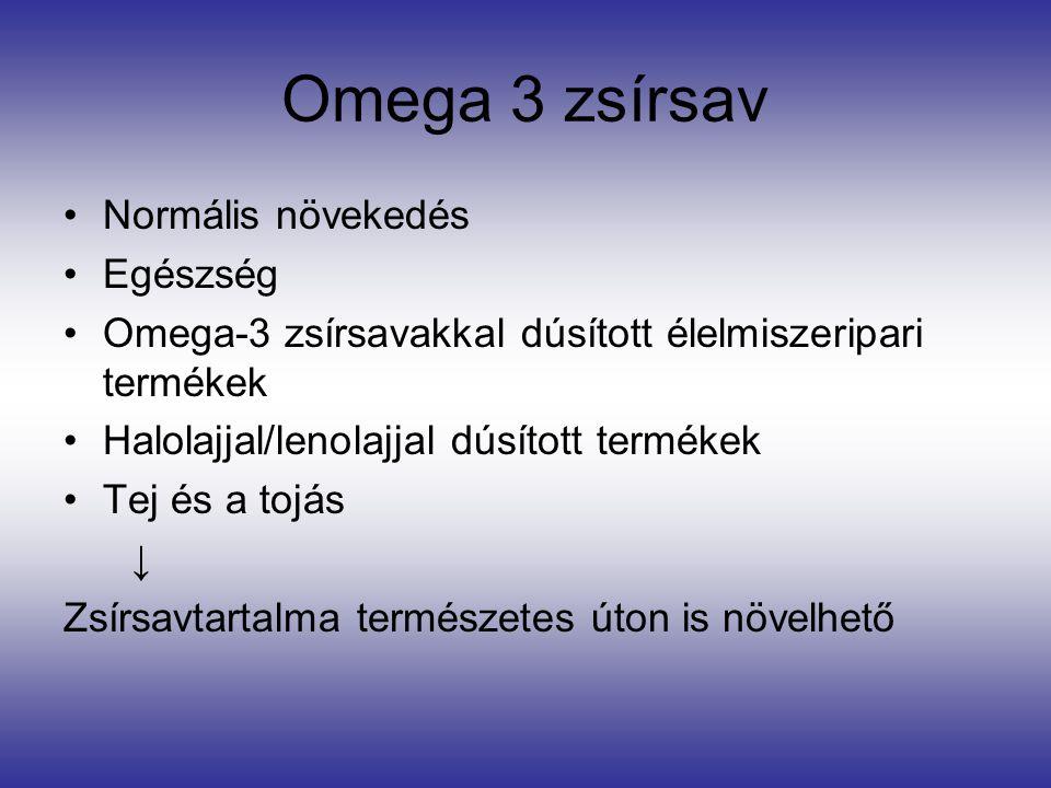 Omega 3 zsírsav Normális növekedés Egészség Omega-3 zsírsavakkal dúsított élelmiszeripari termékek Halolajjal/lenolajjal dúsított termékek Tej és a tojás ↓ Zsírsavtartalma természetes úton is növelhető