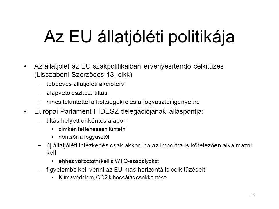 16 Az EU állatjóléti politikája Az állatjólét az EU szakpolitikáiban érvényesítendő célkitűzés (Lisszaboni Szerződés 13.
