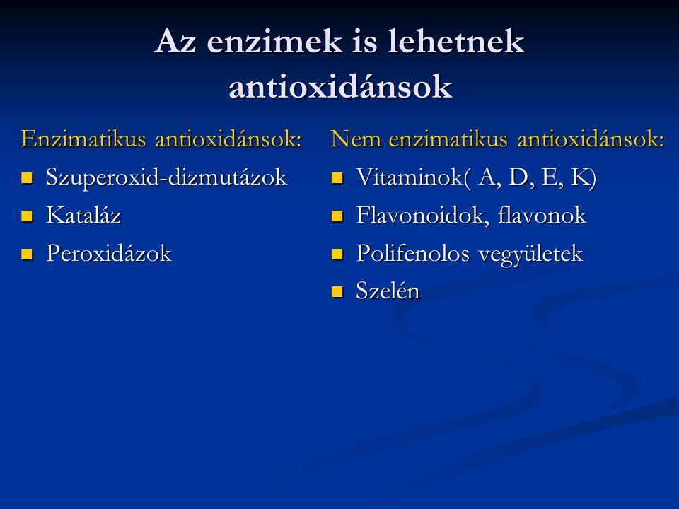 Az enzimek is lehetnek antioxidánsok Enzimatikus antioxidánsok: Szuperoxid-dizmutázok Szuperoxid-dizmutázok Kataláz Kataláz Peroxidázok Peroxidázok Ne