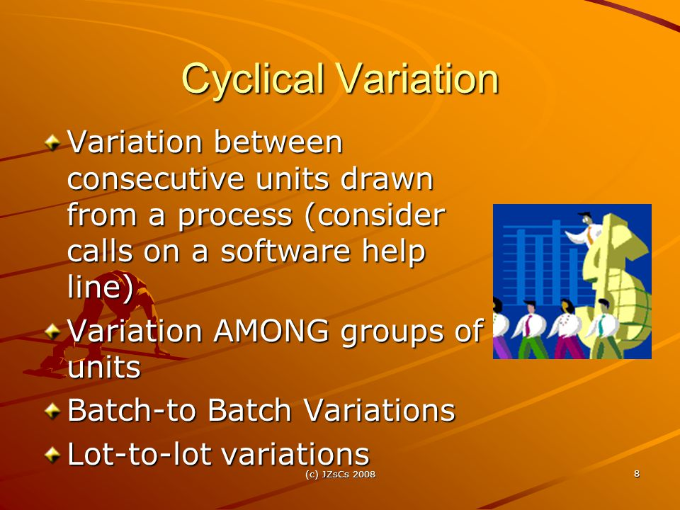 (c) JZsCs 2008 8 Cyclical Variation Variation between consecutive units drawn from a process (consider calls on a software help line) Variation AMONG groups of units Batch-to Batch Variations Lot-to-lot variations