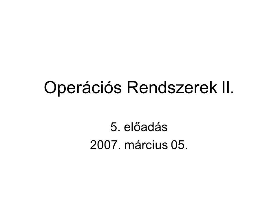Operációs Rendszerek II. 5. előadás 2007. március 05.