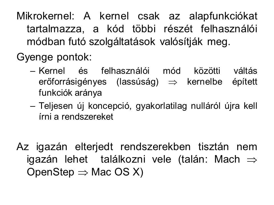 Mikrokernel: A kernel csak az alapfunkciókat tartalmazza, a kód többi részét felhasználói módban futó szolgáltatások valósítják meg. Gyenge pontok: –K