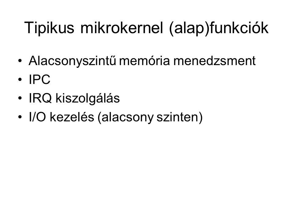 Tipikus mikrokernel (alap)funkciók Alacsonyszintű memória menedzsment IPC IRQ kiszolgálás I/O kezelés (alacsony szinten)