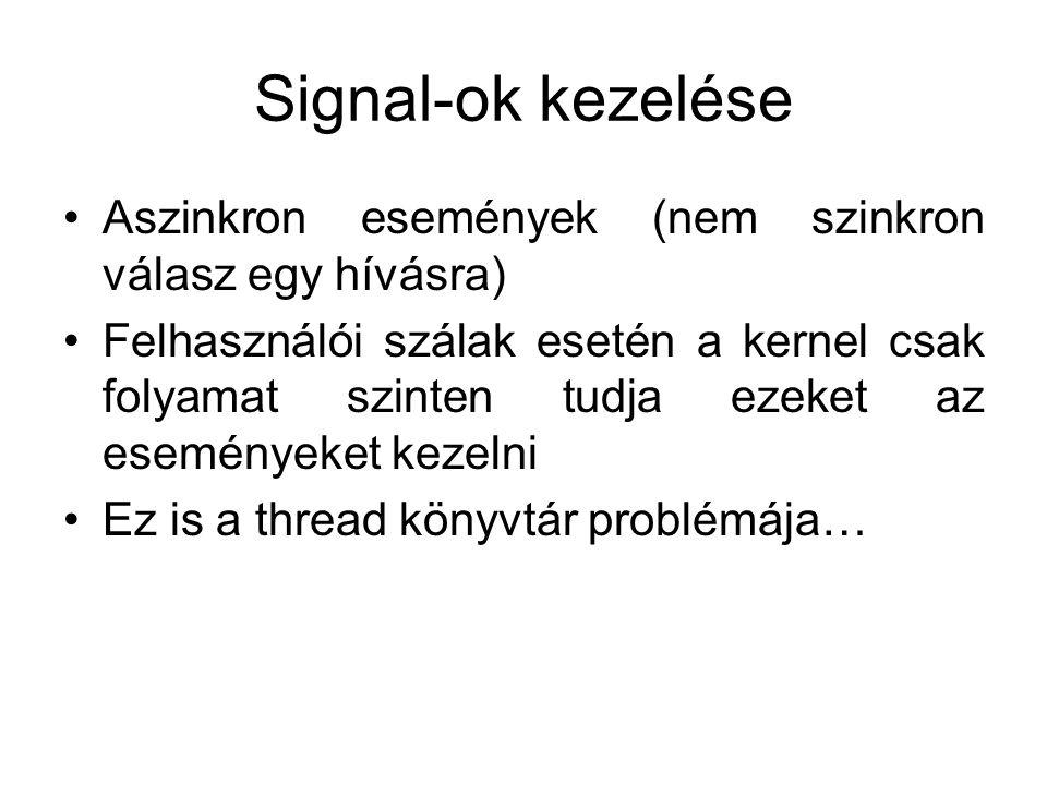 Signal-ok kezelése Aszinkron események (nem szinkron válasz egy hívásra) Felhasználói szálak esetén a kernel csak folyamat szinten tudja ezeket az eseményeket kezelni Ez is a thread könyvtár problémája…