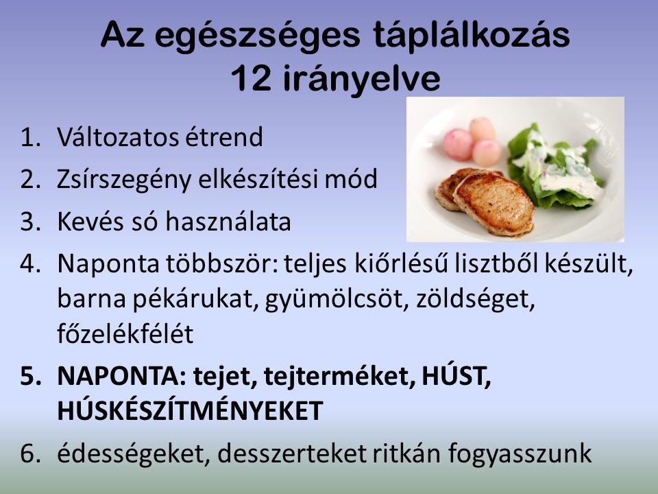 Az egészséges táplálkozás 12 irányelve 1.Változatos étrend 2.Zsírszegény elkészítési mód 3.Kevés só használata 4.Naponta többször: teljes kiőrlésű lis