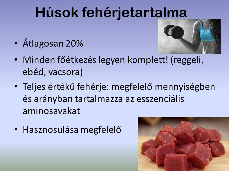 Húsok fehérjetartalma Átlagosan 20% Minden főétkezés legyen komplett! (reggeli, ebéd, vacsora) Teljes értékű fehérje: megfelelő mennyiségben és arányb