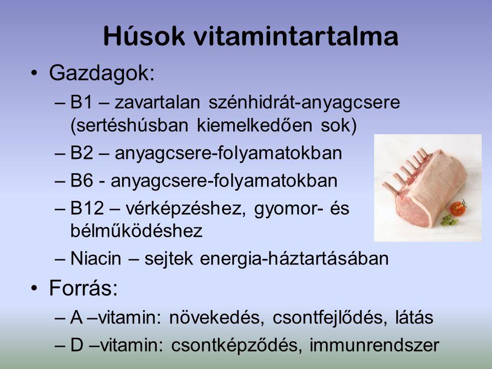 Húsok vitamintartalma Gazdagok: –B1 – zavartalan szénhidrát-anyagcsere (sertéshúsban kiemelkedően sok) –B2 – anyagcsere-folyamatokban –B6 - anyagcsere