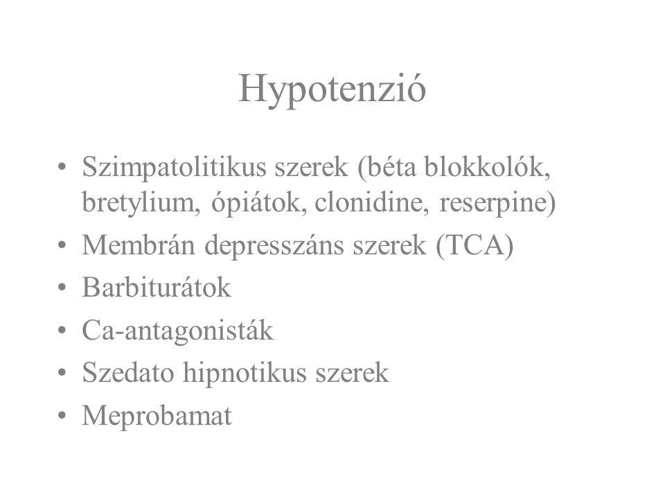 Hypotenzió Beszűkült tudatállapot Therápia: folyadékpótlás, vazoaktív szerek, légútbiztosítás, lélegeztetés sz.e.
