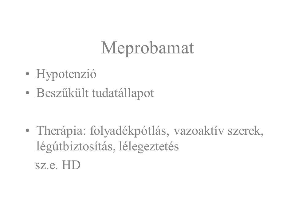 Barbiturátok Csoportosítás Hatástartamuk alapján –ultrarövid - Novopan (hexobarbital) –rövid - Hypnoval-Calcium (cyclobarbital) –közepes - Dorlotyn, (amobarbital), Etovaletta, (butobarbital) –hosszú - Sertan, Sevenal, Sevenaletta, Mysoline, (phenobarbital) kombinacióban más szerekkel - Tardyl, Belloid, Belletoval, Meristin, Troparinum comb., Germicid, Hypanodin, Salvador, Demalgonil