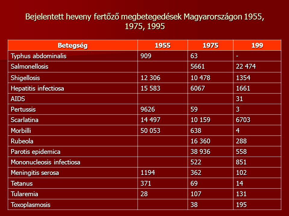 Bejelentett heveny fertőző megbetegedések Magyarországon 1955, 1975, 1995 Betegség19551975199 Typhus abdominalis 90963- Salmonellosis5661 22 474 Shige