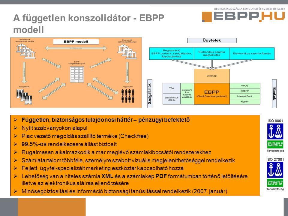 A független konszolidátor - EBPP modell  Független, biztonságos tulajdonosi háttér – pénzügyi befektető  Nyílt szabványokon alapul  Piac vezető meg