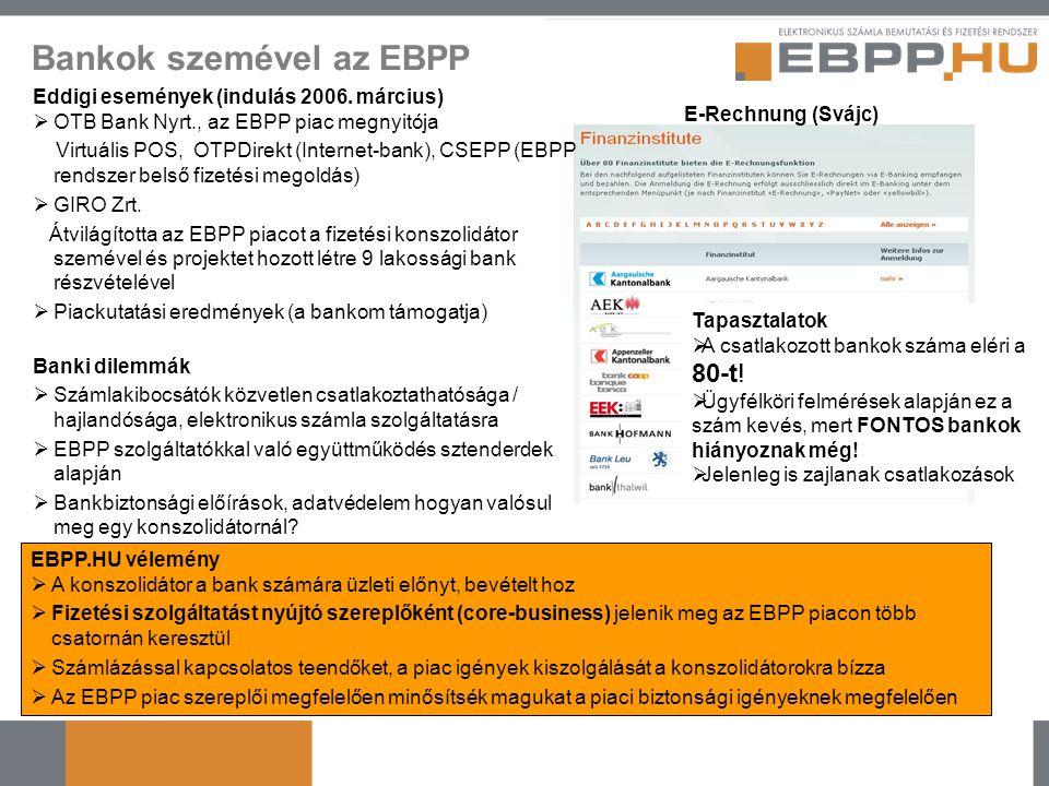 Bankok szemével az EBPP Eddigi események (indulás 2006. március)  OTB Bank Nyrt., az EBPP piac megnyitója Virtuális POS, OTPDirekt (Internet-bank), C