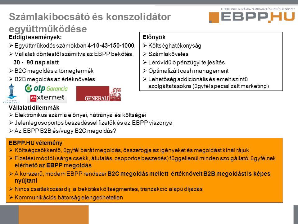 Számlakibocsátó és konszolidátor együttműködése Eddigi események:  Együttműködés számokban 4-10-43-150-1000,  Vállalati döntéstől számítva az EBPP b