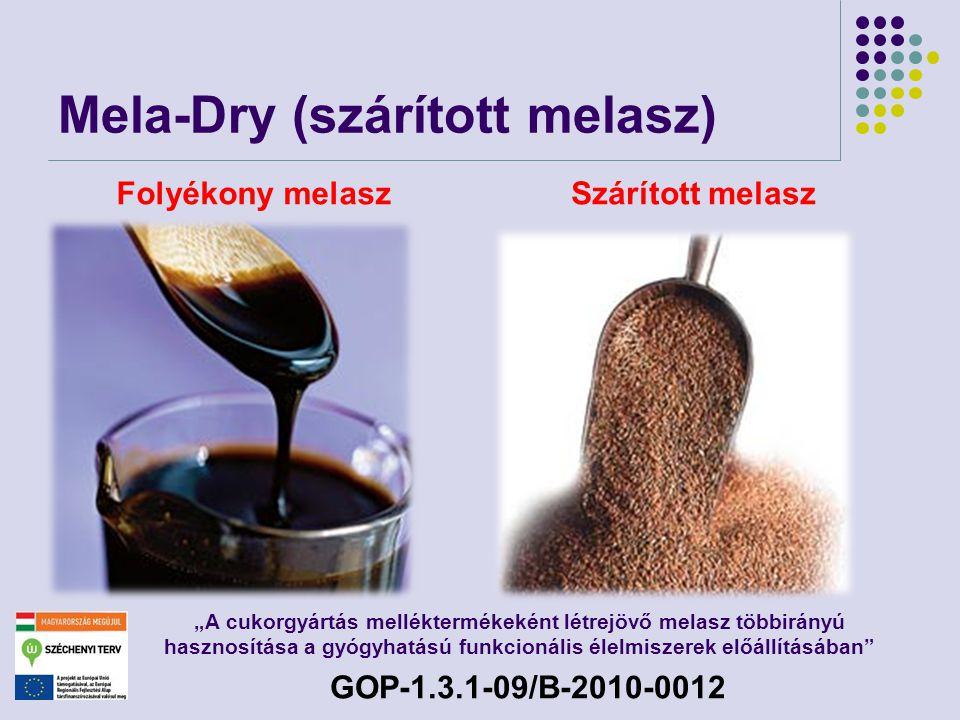"""Mela-Dry (szárított melasz) Folyékony melaszSzárított melasz """"A cukorgyártás melléktermékeként létrejövő melasz többirányú hasznosítása a gyógyhatású"""