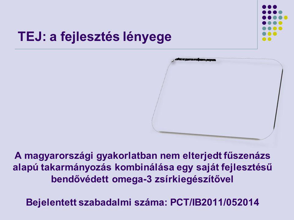TEJ: a fejlesztés lényege A magyarországi gyakorlatban nem elterjedt fűszenázs alapú takarmányozás kombinálása egy saját fejlesztésű bendővédett omega