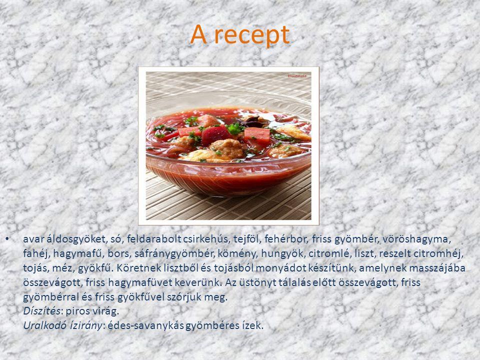 A recept avar áldosgyöket, só, feldarabolt csirkehús, tejföl, fehérbor, friss gyömbér, vöröshagyma, fahéj, hagymafű, bors, sáfránygyömbér, kömény, hungyök, citromlé, liszt, reszelt citromhéj, tojás, méz, gyökfű.