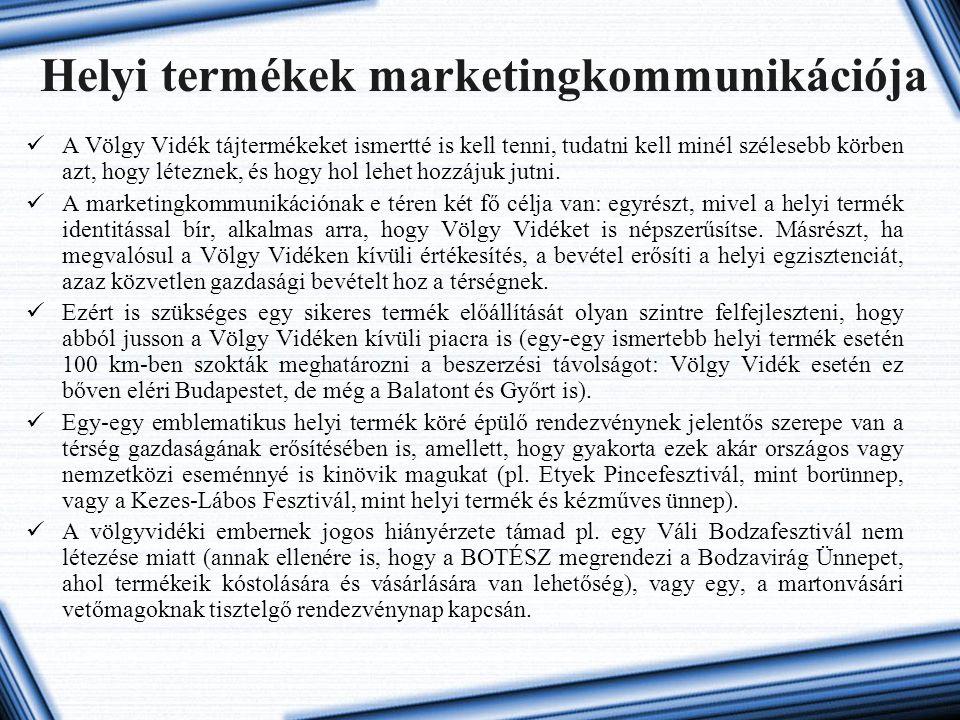 Helyi termékek marketingkommunikációja A Völgy Vidék tájtermékeket ismertté is kell tenni, tudatni kell minél szélesebb körben azt, hogy léteznek, és