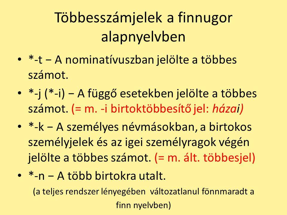 Többesszámjelek a finnugor alapnyelvben *-t − A nominatívuszban jelölte a többes számot. *-j (*-i) − A függő esetekben jelölte a többes számot. (= m.