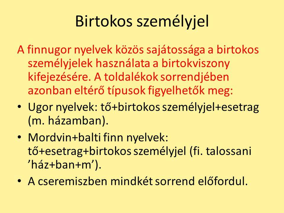 Birtokos személyjel A finnugor nyelvek közös sajátossága a birtokos személyjelek használata a birtokviszony kifejezésére. A toldalékok sorrendjében az