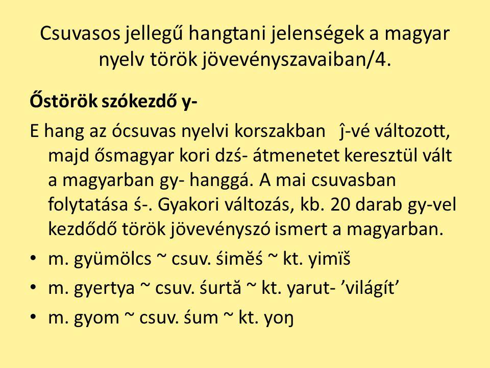 Csuvasos jellegű hangtani jelenségek a magyar nyelv török jövevényszavaiban/4. Őstörök szókezdő y- E hang az ócsuvas nyelvi korszakban ĵ-vé változott,