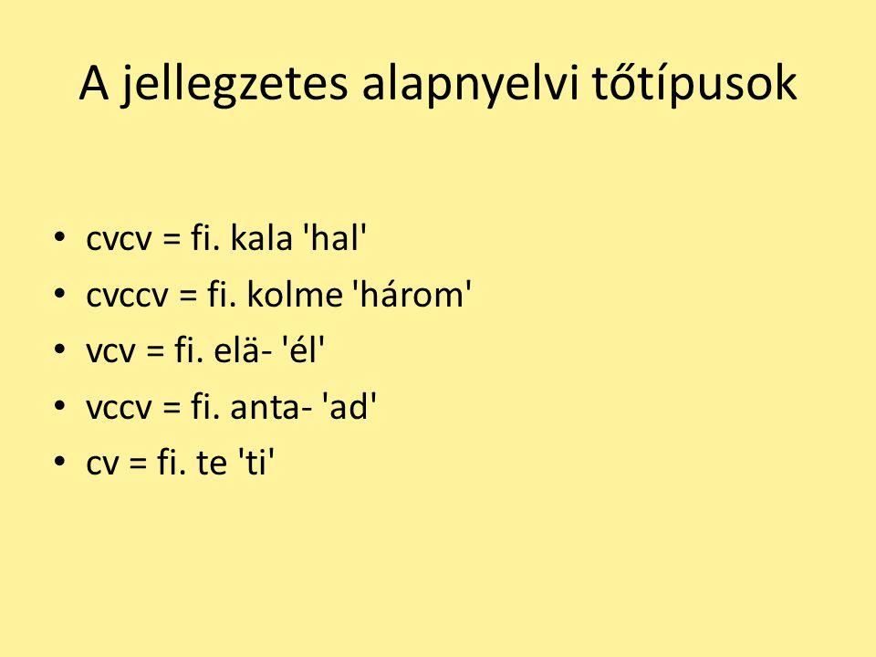 A jellegzetes alapnyelvi tőtípusok cvcv = fi. kala 'hal' cvccv = fi. kolme 'három' vcv = fi. elä- 'él' vccv = fi. anta- 'ad' cv = fi. te 'ti'