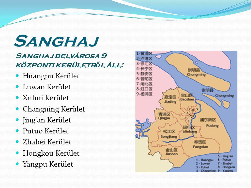 Sanghaj Sanghaj belvárosa 9 központi kerületb ő l áll: Huangpu Kerület Luwan Kerület Xuhui Kerület Changning Kerület Jing an Kerület Putuo Kerület Zhabei Kerület Hongkou Kerület Yangpu Kerület