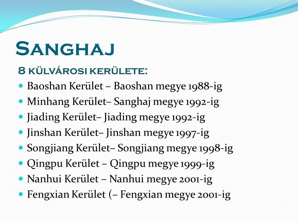 Sanghaj 8 külvárosi kerülete: Baoshan Kerület – Baoshan megye 1988-ig Minhang Kerület– Sanghaj megye 1992-ig Jiading Kerület– Jiading megye 1992-ig Jinshan Kerület– Jinshan megye 1997-ig Songjiang Kerület– Songjiang megye 1998-ig Qingpu Kerület – Qingpu megye 1999-ig Nanhui Kerület – Nanhui megye 2001-ig Fengxian Kerület (– Fengxian megye 2001-ig
