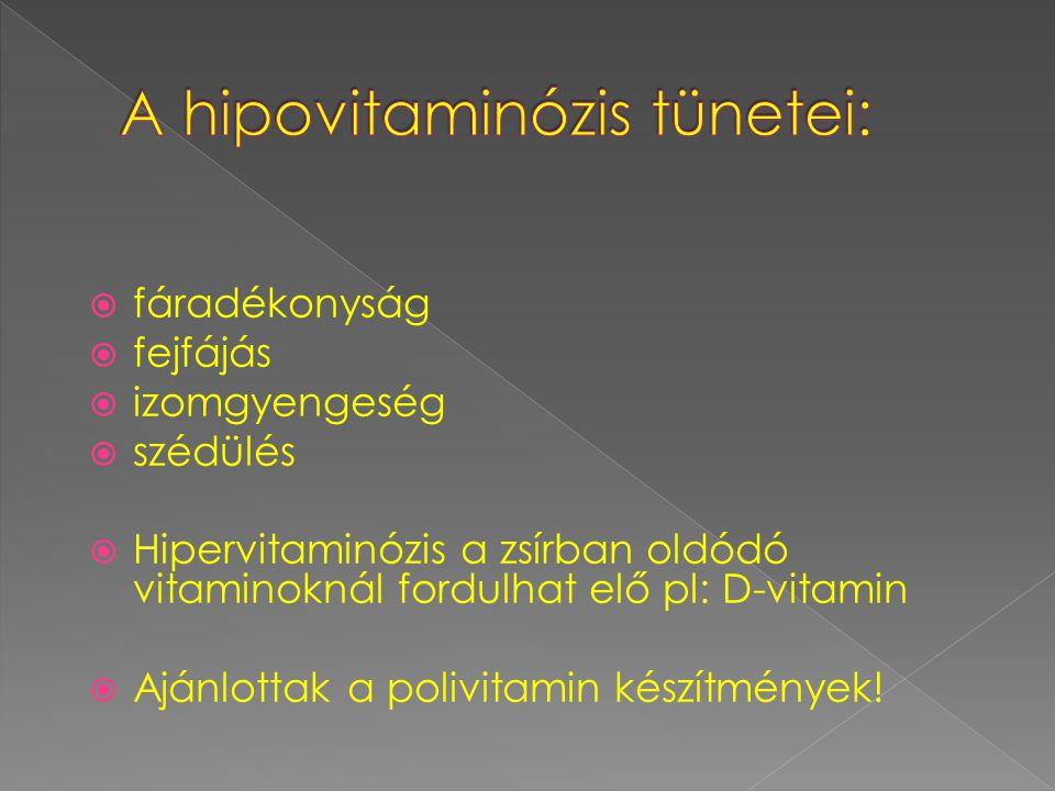  fáradékonyság  fejfájás  izomgyengeség  szédülés  Hipervitaminózis a zsírban oldódó vitaminoknál fordulhat elő pl: D-vitamin  Ajánlottak a polivitamin készítmények!
