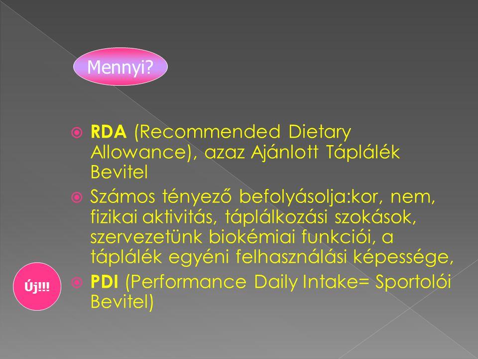 RDA (Recommended Dietary Allowance), azaz Ajánlott Táplálék Bevitel  Számos tényező befolyásolja:kor, nem, fizikai aktivitás, táplálkozási szokások, szervezetünk biokémiai funkciói, a táplálék egyéni felhasználási képessége,  PDI (Performance Daily Intake= Sportolói Bevitel) Mennyi.