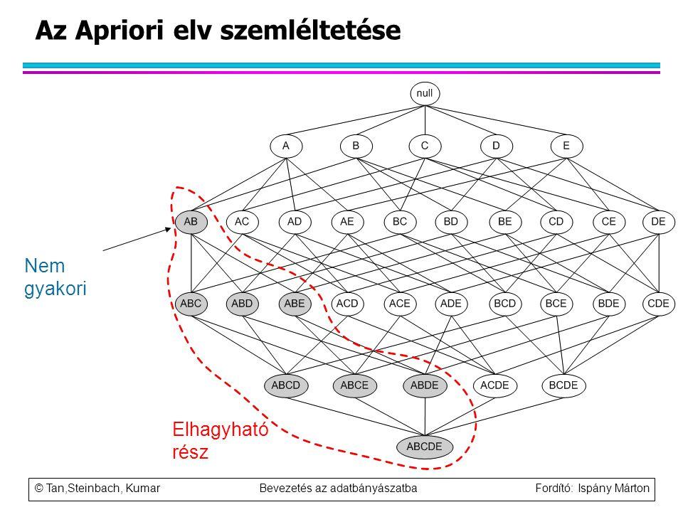 © Tan,Steinbach, Kumar Bevezetés az adatbányászatba Fordító: Ispány Márton Nem gyakori Az Apriori elv szemléltetése Elhagyható rész