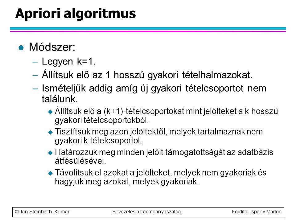 © Tan,Steinbach, Kumar Bevezetés az adatbányászatba Fordító: Ispány Márton Apriori algoritmus l Módszer: –Legyen k=1. –Állítsuk elő az 1 hosszú gyakor