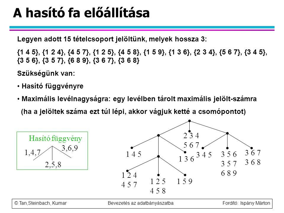 © Tan,Steinbach, Kumar Bevezetés az adatbányászatba Fordító: Ispány Márton A hasító fa előállítása 2 3 4 5 6 7 1 4 5 1 3 6 1 2 4 4 5 7 1 2 5 4 5 8 1 5
