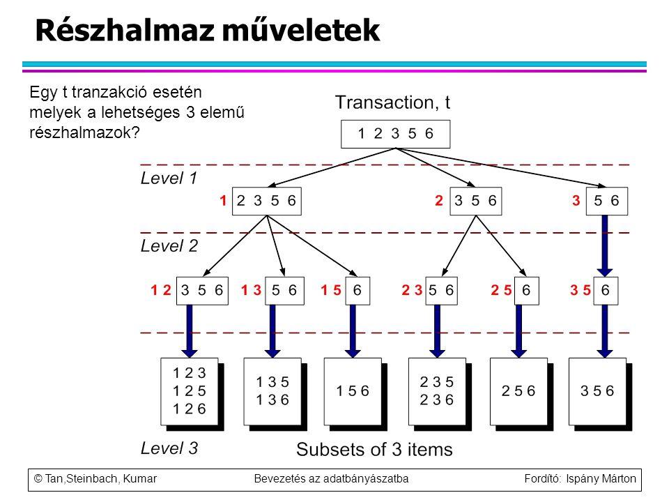 © Tan,Steinbach, Kumar Bevezetés az adatbányászatba Fordító: Ispány Márton Részhalmaz műveletek Egy t tranzakció esetén melyek a lehetséges 3 elemű ré