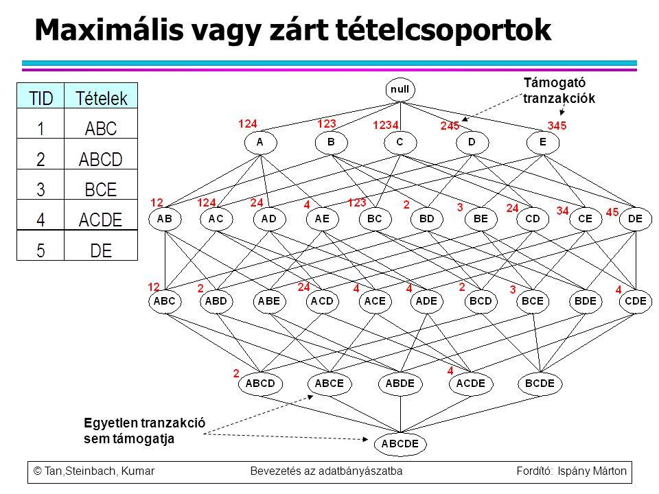 © Tan,Steinbach, Kumar Bevezetés az adatbányászatba Fordító: Ispány Márton Maximális vagy zárt tételcsoportok Támogató tranzakciók Egyetlen tranzakció