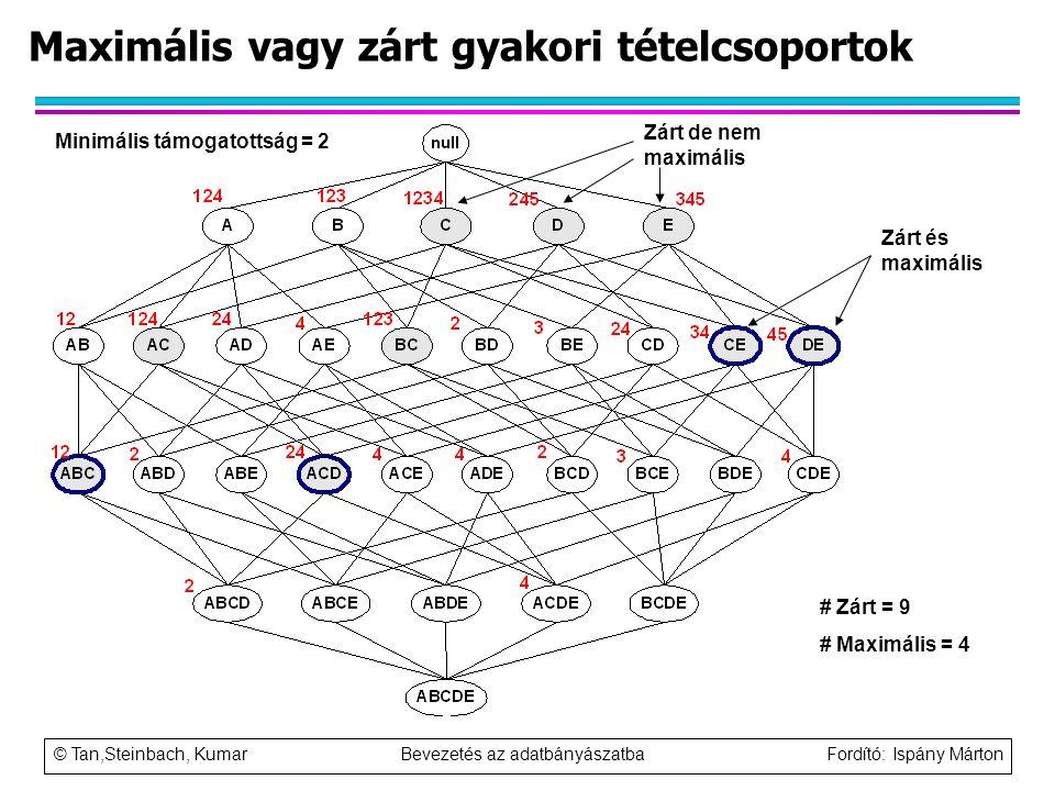 © Tan,Steinbach, Kumar Bevezetés az adatbányászatba Fordító: Ispány Márton Maximális vagy zárt gyakori tételcsoportok Minimális támogatottság = 2 # Zá
