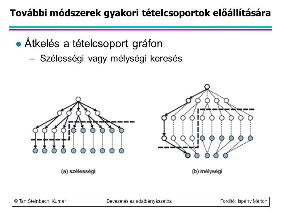 © Tan,Steinbach, Kumar Bevezetés az adatbányászatba Fordító: Ispány Márton További módszerek gyakori tételcsoportok előállítására l Átkelés a tételcso