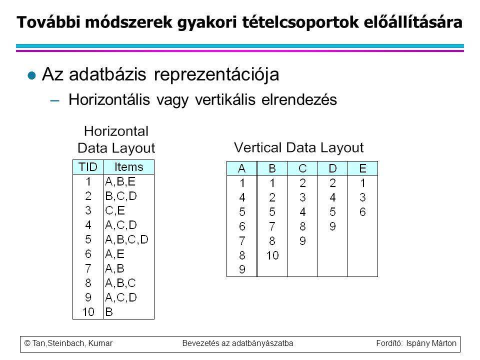 © Tan,Steinbach, Kumar Bevezetés az adatbányászatba Fordító: Ispány Márton További módszerek gyakori tételcsoportok előállítására l Az adatbázis repre
