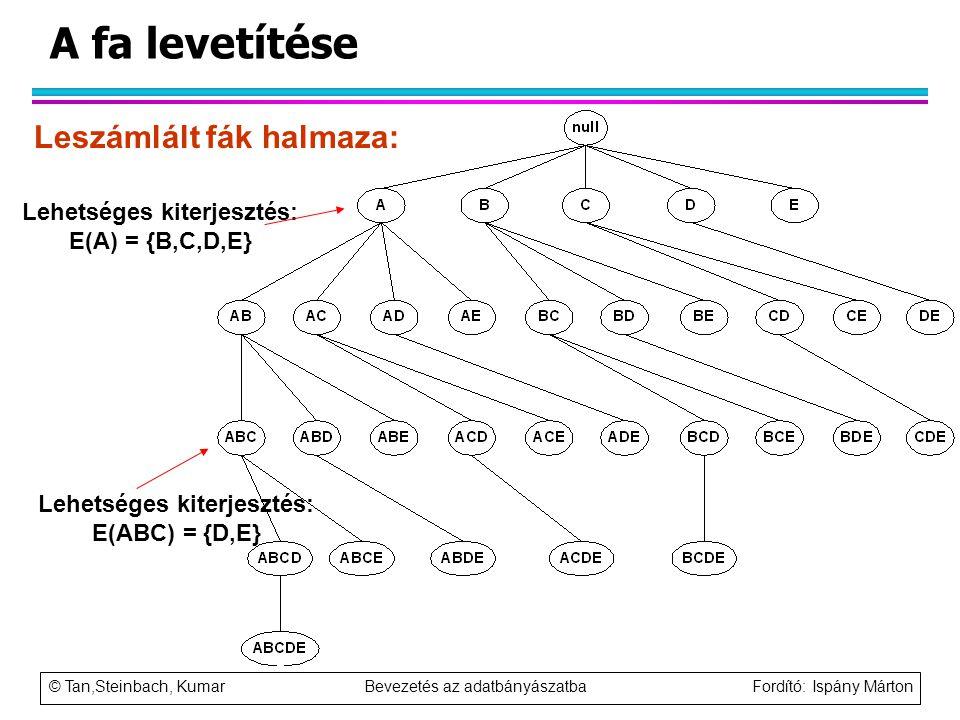 © Tan,Steinbach, Kumar Bevezetés az adatbányászatba Fordító: Ispány Márton A fa levetítése Leszámlált fák halmaza: Lehetséges kiterjesztés: E(A) = {B,